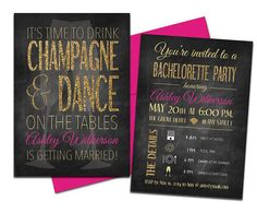Gold and Pink Bachelorette Invites with Envelopes. Drink champagne and dance on the tables. Click through to find matching games, favors, thank you cards, inserts, decor, and more. Or shop our 1000+ designs for all of life's journeys. Weddings, birthdays, new babies, anniversaries, and more. Only at Aesthetic Journeys