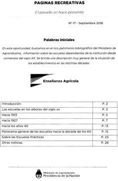 La nueva edición de Páginas Recreativas presenta un nuevo diseño. Este número está dedicado a Enseñanza Agrícola. Podrán disfrutar del texto completo a color desde: http://www.agroindustria.gob.ar/sitio/areas/biblioteca/