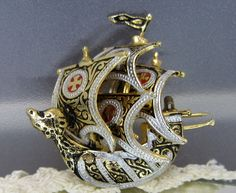 Vintage Jewelry Brooch Spanish Pirate Ship finely by DLSpecialties