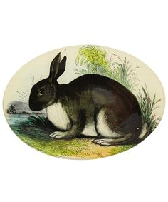 Rabbit Decoupage Glass Oval Plate, John Derian.  beautiful!