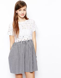 ASOS Smock Dress In Gingham And Lace