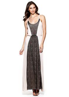 pretty! | s.h.e. sale black lace on white maxi dress 39.99 at http://www.ideeli.com/invite/pinterest