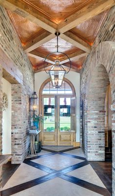 Custom Residential Architect - HOME - Farmer Payne Architects Rustic Brick House Exterior, Cottage Exterior, Creole Cottage, Lake Cottage, Rustic Lake Houses, Colonial, Modern Hallway, Brick Arch, Barn Renovation