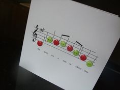 Christmas Buttons Music Card - Folksy