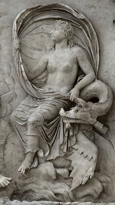 Panel of Tellus (close-up).  Left part of the east facade of the Ara Pacis Augustae (upper panel). Marble. Rome, Altar of Augustan Peace (Ara Pacis Augustae).