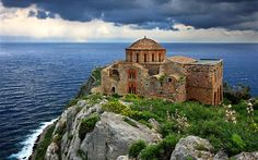 The Byzantine church of Hagia Sophia, Monemvasia, Greece. Monemvasia Greece, Turkey Destinations, Greece Holiday, Hagia Sophia, Greece Travel, Luxury Travel, Places To See, Natural, Cool Pictures