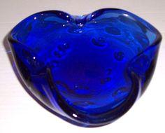 Vintage MURANO Glass Art Cobalt Blue Designed Table by Jaxsprats, $114.99