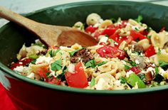 Orecchiette Pasta Salad with Sweet Italian Sausage, Fresh Tomatoes, Colorful Peppers, Basil and Feta cheese