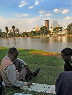 People play in Nairobi's uhuru garden