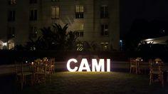 Cartel luminoso con bombitas en el jardin.Fiesta de 15 Organizada por Maria Ines Novegil Event Planners en Hotel Four Seasons Buenos Aires