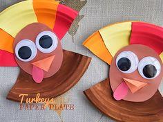 Paper Plate Turkeys Craft, Thanksgiving Craft, Fall Craft, Kid Craft