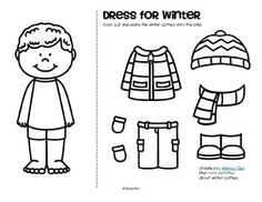 FREE*** Color, cut and paste the winter clothes onto the girl and ...