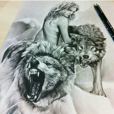 Draw with wolves and girl Norse Tattoo, Tattoo On, Tattoo Drawings, Body Art Tattoos, Art Drawings, Beautiful Wolves, Animals Beautiful, Female Werewolves, Snarling Wolf