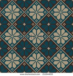 Seamless pattern ornament on the wool knitted texture. Knitting Charts, Knitting Stitches, Knitting Patterns, Cross Stitching, Cross Stitch Embroidery, Embroidery Patterns, Cross Stitch Designs, Cross Stitch Patterns, Tapestry Crochet Patterns