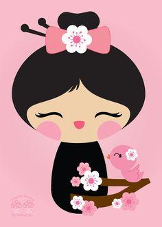 Pink Cherry Blossom Kokeshi Doll Art