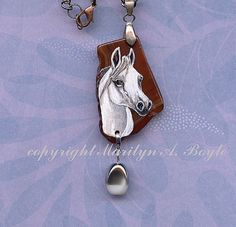 HAND PAINTED STONE; white horse head, amber stone, highly polished, silver bail, white and silver bead, copper chain, woman, teenage
