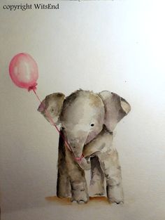 'ROSIE AT THE PARTY'. Baby Elephant painting original nursery watercolor art by 4WitsEnd,via Etsy SOLD