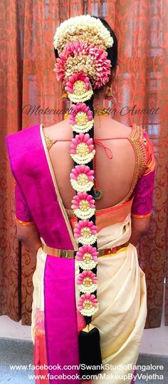 Traditional Southern Indian bride's bridal braid hair. Hairstyle by Vejetha for Swank Studio. Silk Saree. Sari Blouse Design. Hair Accessories. Silk Kanjeevaram sari. Braid with fresh flowers. Tamil bride. Telugu bride. Kannada bride. Hindu bride. Malayalee bride. Find us at https://www.facebook.com/SwankStudioBangalore