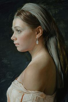 """Searching Soul"" - Serge Marshennikov (Russian, b. 1971), oil on canvas, 2015 {figurative realism art beautiful female head woman face portrait profile cropped painting}"