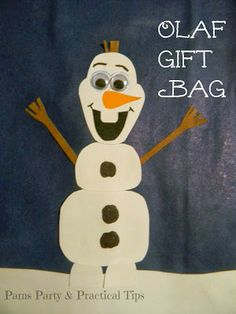 Pams Party & Practical Tips: Olaf Gift Bag Fun Activities For Kids, Crafts For Kids, Build A Snowman, Frozen Party, Party Bags, Olaf, Fabric Crafts, Diy Gifts, Birthday Parties