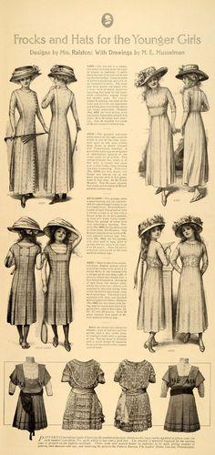 1909 Print Frocks Hat Girl Guimpe Sheer Empire Dress - ORIGINAL HISTORIC LHJ1
