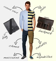 Men's summer fashion - work on the left, casual weekend on the right. Business Casual Men, Men Casual, Mens Fashion Shoes, Men's Fashion, Mens Style Guide, Urban Outfits, My Guy, Casual Shirts, What To Wear