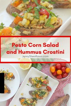 #ad Pesto Corn Salad and Hummus Crostini via JennySheaRawn.com. A fresh corn salad (corn cut off the cobb and tossed with tomatoes and pesto) sits atop Sabra Pine Nut hummus on toasted multi-grain baguette slices, all topped with slivered basil and freshly ground pepper. Colorful, crisp, fresh and oh so delicious. Summer Appetizers | Healthy Summer Appetizers | Summer Recipes | Fresh summer recipes | Summer Appetizer Recipes | Healthy Crostini Recipes