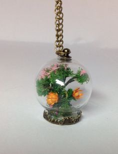 Cherry Blossom Tree/Japanese Sakura/Miniature Bonsai /Glass Globe Orb/Nature Inspired Pendant Necklace/Terrarium Necklace/miniature garden by icusuezq on Etsy https://www.etsy.com/listing/497917160/cherry-blossom-treejapanese