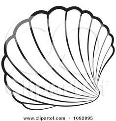 seashell stained glass patterns clipart black and white scallop sea shell royalty free vector - Seashell Coloring Pages Printable