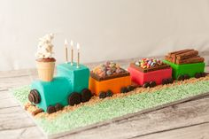 This cute train cake is assembled using store bought cake, and if you like, store bought frosting. Trains Birthday Party, Train Party, 3rd Birthday, Birthday Ideas, 4th Birthday Cakes For Boys, Car Cakes For Boys, Thomas Birthday, Store Bought Frosting, Thomas The Train