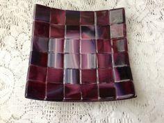 Fused Glass Dish Burgundy Purple Art Glass Dish by AngelasArtGlass