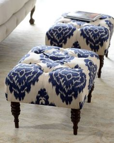 """Emily"" tufted ikat ottoman from Horchow $359"