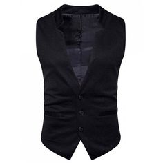V Neck Edging Single Breasted Waistcoat ($22) ❤ liked on Polyvore featuring outerwear, vests, v-neck vest, waistcoat vest, blue waistcoat, v neck vest and blue vest