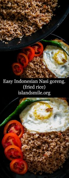 Learn to make this basic Indonesian Nasi Goreng recipe(fried rice). Add a mix of your favorite meat or seafood and you have a restaurant worthy dish. Side Dish Recipes, Veggie Recipes, Asian Recipes, Beef Recipes, Chicken Recipes, Dinner Recipes, Healthy Recipes, Veggie Food, Delicious Recipes