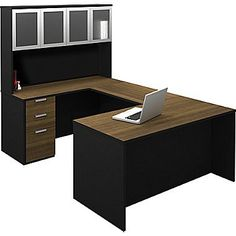 Shop Bestar Pro-Concept U-Shaped Workstation with High Hutch at Lowe's Canada. Find our selection of home office furniture sets & suites at the lowest price guaranteed with price match. Home Office Furniture Sets, Home Office Desks, Furniture Deals, Deco Furniture, Small Furniture, Desk Dimensions, Work Station Desk, Desk Hutch, Office Suite