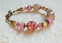 BoHo Bride  Artisan Lampwork bracelet bohemian by MarianneMerceria
