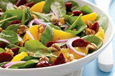 Salade aux épinards, betteraves et agrumes