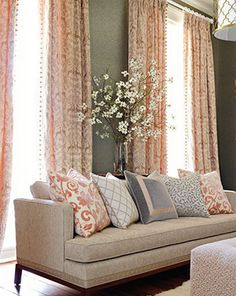 Living Room. Study in peach and gray. Stroheim fabrics.