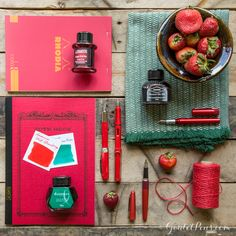 What juicy stationery! Love this Strawberry Fields collection of fountain pens, notebooks, and ink. Click here to read about them!
