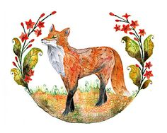 Fox and flowers // SALE 3 for 2 // Foxy Garden animal door TevaKiwi