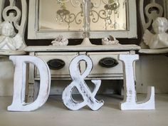 3XLARGE SHABBY CHIC VINTAGE WHITE WOODEN INITIALS  AZ NAMES LETTER WEDDING 15CM