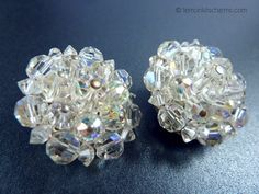 Vintage AB Crystal Cluster Earrings Jewelry 1950s