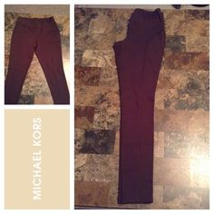 """Michael Kors Leggings Michael Kors Leggings are made of 70% Polyester and 25% Rayon and 5% Spandex. Size Small. Color Brown.  Stretches. Laying flat """"12. Inseam """"29. Length """"37. This item is NOT new, It is used and in Good condition. Authentic and from a Smoke And Pet free home. All Offers through the offer button ONLY.  Ask any questions BEFORE purchase. Please use the Offer button, I WILL NOT negotiate in the comment section. Thank You 😀 Michael Kors Pants Leggings"""