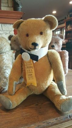 """Charming Antique 23"""" Mohair Teddy Bear Excelsior Stuffed with Antique  Ribbon"""