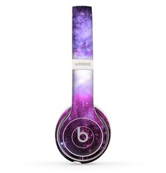 The Purple Space Neon Explosion Skin Set for the Beats by Dre Solo 2 Wireless Headphones Cute Headphones, Wireless Headphones, Beats Headphones, Beats By Dr Dre, Cheap Beats, The Violet, Macbook Case, Gaming Headset, Cool Things To Buy
