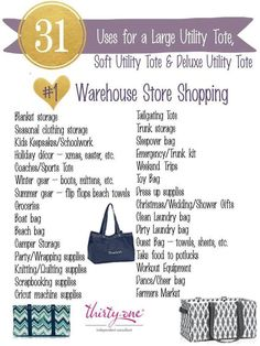 #31uses - Large Utility Tote by Thirty-One. Click to order. Join my VIP Facebook…