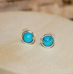 Turquoise Earrings Sterling Silver Stud by BirchBarkDesign on Etsy