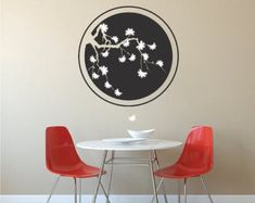 Cherry Blossom Ring Wall Decal, Tree Blossom Wall Vinyl Decal, Floral Tree Wall Mural, Removable Blossom Tree Sticker, Lower Tree Art, b32