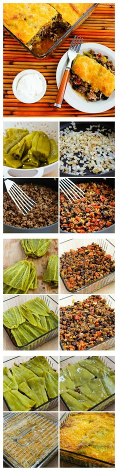 I love this Spicy Green Chile Mexican Casserole with Ground Beef, Black Beans, and Tomatoes.  This recipe uses whole green chiles layered with a beef, black bean, and tomato mixture, so it's pretty low in carbs and is also gluten-free and SBD Phase One.  And it's seriously delicious!  [from KalynsKitchen.com]