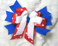 Cheer Bow - Large 6 Inch Triple Red/White Polka Dot & Royal Blue Spike Hair Bow for Cheer and Dance Squads or Softball, Volleyball Teams